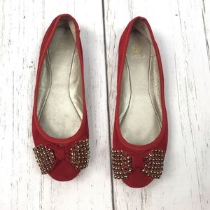 Isola Red Suede Jeweled Bow Flats Sz 6.5